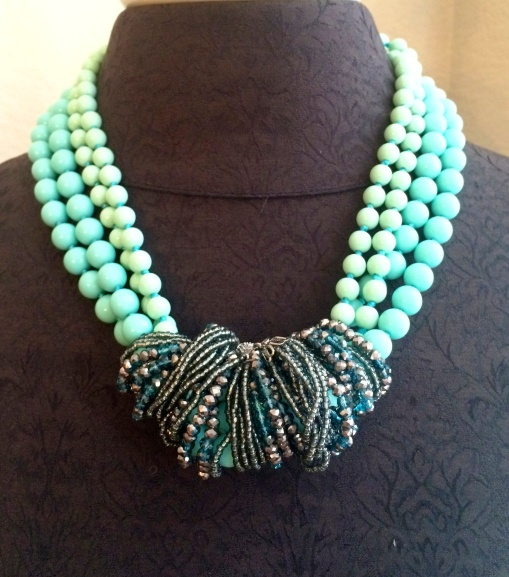 Seabreeze is double- doubled and wrapped with the Seaside necklace for a stunning creation.