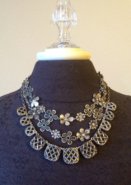 The Daisy Chain doubled and framed by the Perfection necklace reversed side. ( The Perfection necklace is reversible)