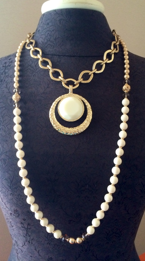 Add the French Vanilla enhancer to the Golden Rule necklace and frame this duo with the Pompeii necklace.  Creme + Gold = Elegance!