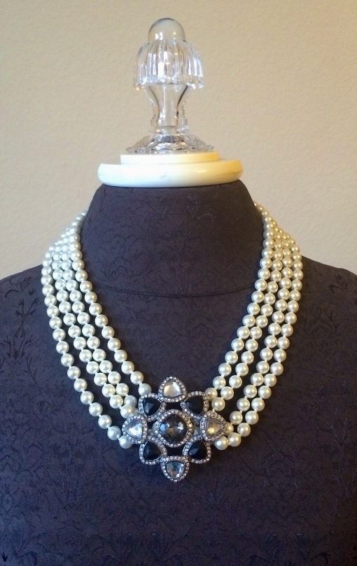 The Opening Night necklace is double doubled and clasped with a clip-it .  The Royal Dreams pin is added as an enhancer.