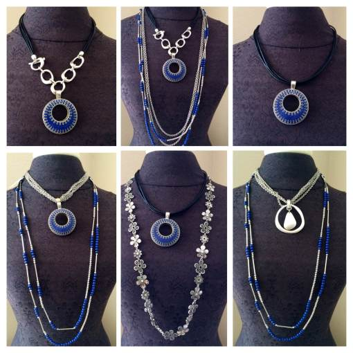Easy Living, Daisy Chain, True Blue necklaces offer myriad of options for combo's.